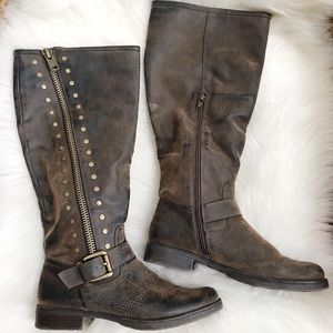 UNR8ED Tall Rugged Faux Leather Studded Boots-8.5M
